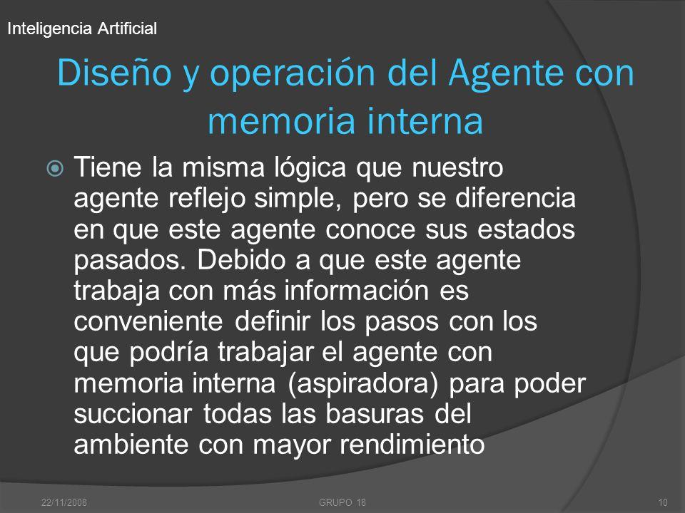 22/11/2008GRUPO 1810 Diseño y operación del Agente con memoria interna Tiene la misma lógica que nuestro agente reflejo simple, pero se diferencia en