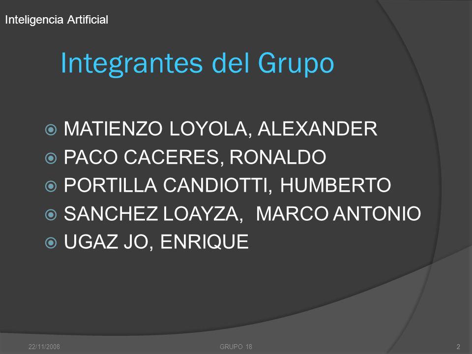 22/11/2008GRUPO 182 Integrantes del Grupo MATIENZO LOYOLA, ALEXANDER PACO CACERES, RONALDO PORTILLA CANDIOTTI, HUMBERTO SANCHEZ LOAYZA, MARCO ANTONIO