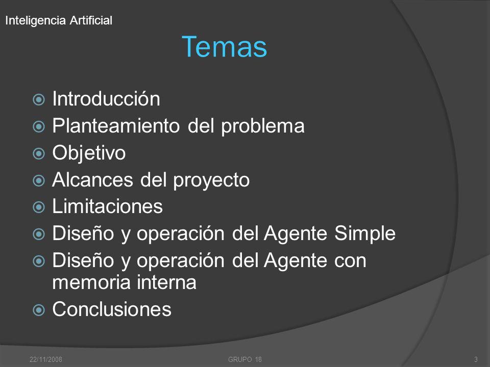 22/11/2008GRUPO 183 Temas Introducción Planteamiento del problema Objetivo Alcances del proyecto Limitaciones Diseño y operación del Agente Simple Dis