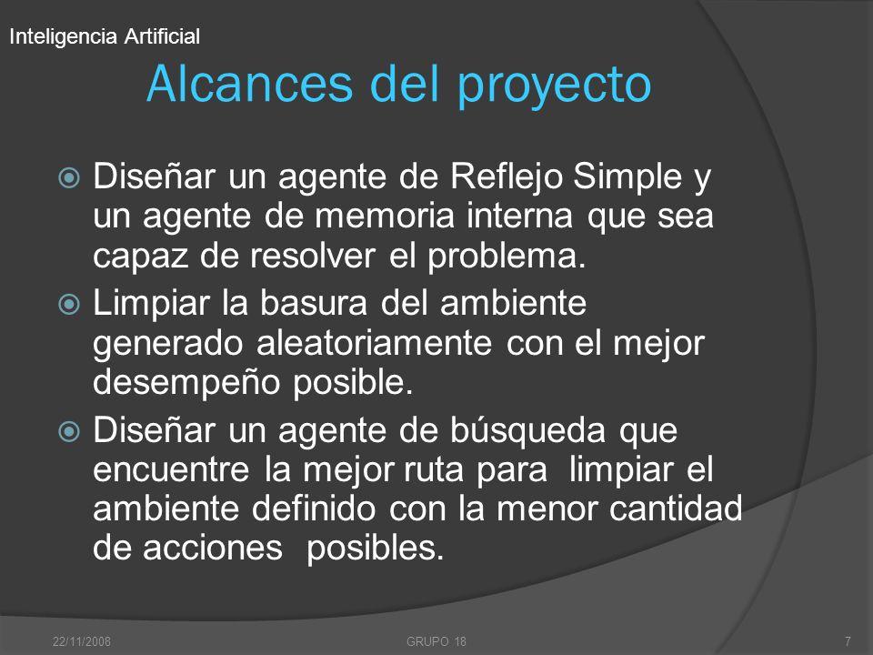 22/11/2008GRUPO 187 Alcances del proyecto Diseñar un agente de Reflejo Simple y un agente de memoria interna que sea capaz de resolver el problema. Li