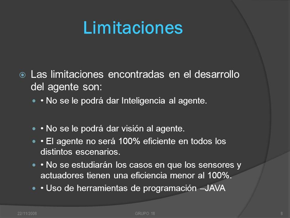 22/11/2008GRUPO 188 Limitaciones Las limitaciones encontradas en el desarrollo del agente son: No se le podrá dar Inteligencia al agente. No se le pod