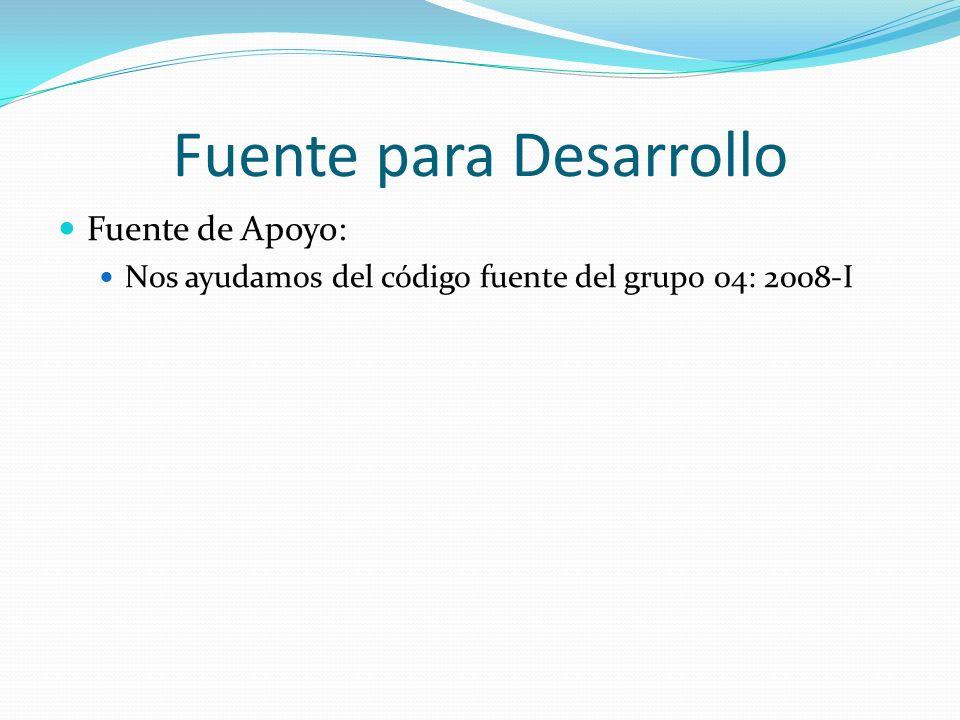 Fuente para Desarrollo Fuente de Apoyo: Nos ayudamos del código fuente del grupo 04: 2008-I