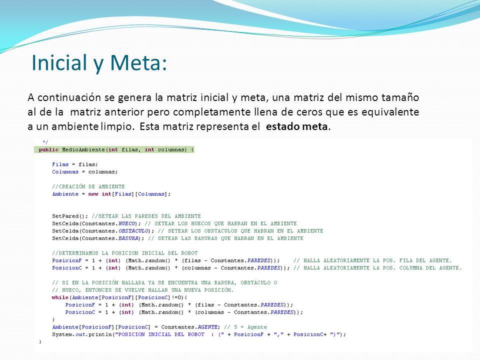 A continuación se genera la matriz inicial y meta, una matriz del mismo tamaño al de la matriz anterior pero completamente llena de ceros que es equivalente a un ambiente limpio.