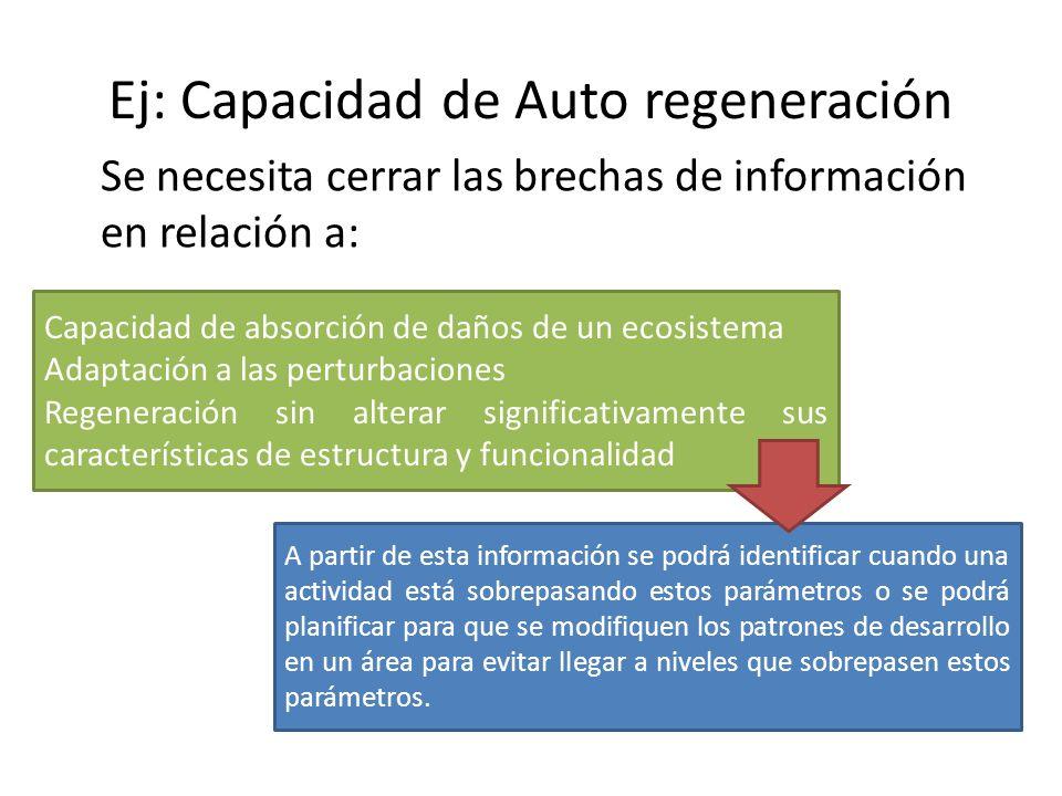 Ej: Capacidad de Auto regeneración Se necesita cerrar las brechas de información en relación a: Capacidad de absorción de daños de un ecosistema Adapt