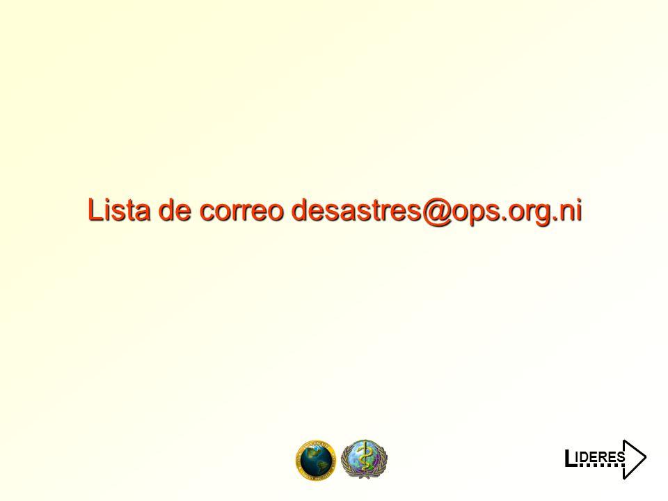 IDERES L....... ¿Que regiones participan? Fuente: OPS/OMS Nicaragua, 15/Ago/2000