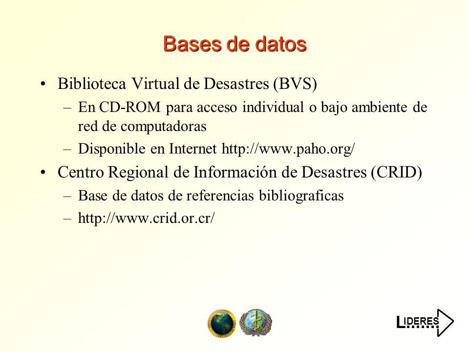 IDERES L....... Bases de datos Biblioteca Virtual de Desastres (BVS) –En CD-ROM para acceso individual o bajo ambiente de red de computadoras –Disponi