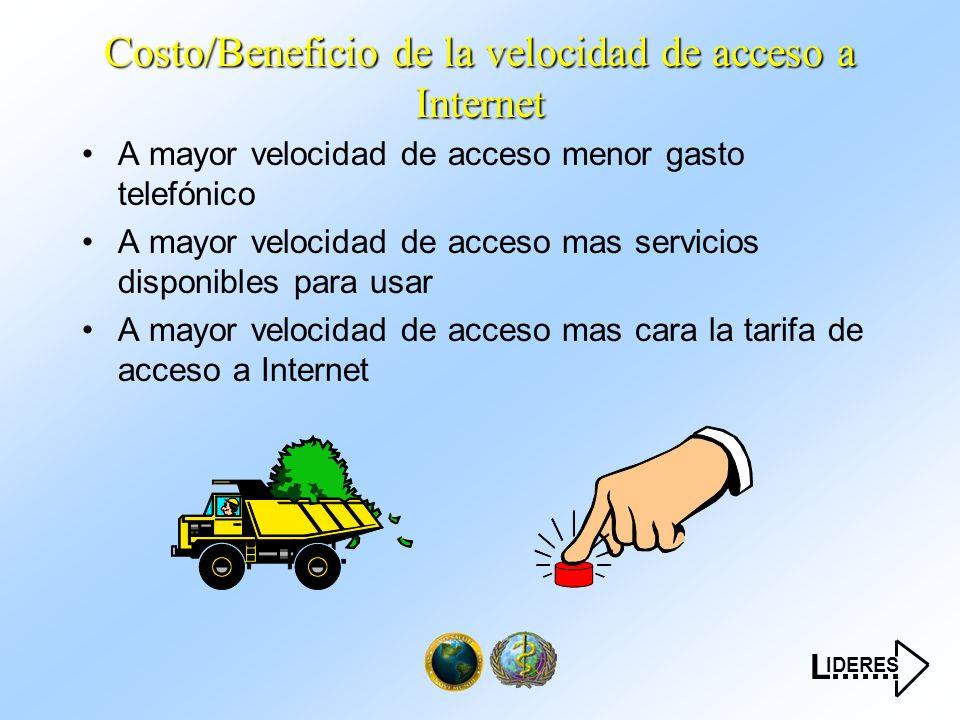 IDERES L....... Costo/Beneficio de la velocidad de acceso a Internet A mayor velocidad de acceso menor gasto telefónico A mayor velocidad de acceso ma
