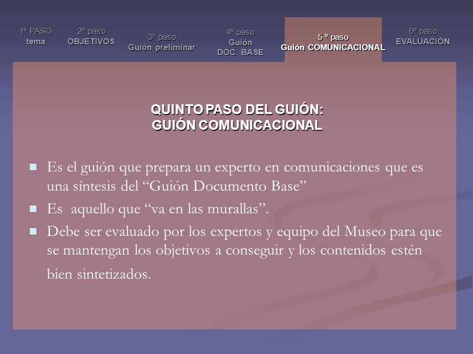 QUINTO PASO DEL GUIÓN: GUIÓN COMUNICACIONAL 1º PASO tema 2º paso OBJETIVOS 3º paso Guión preliminar 4º paso Guión DOC. BASE 5 º paso Guión COMUNICACIO