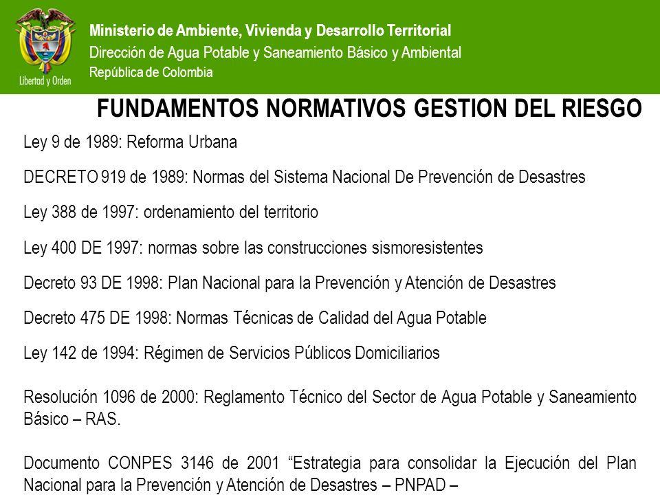 Ministerio de Ambiente, Vivienda y Desarrollo Territorial Dirección de Agua Potable y Saneamiento Básico y Ambiental República de Colombia POLÍTICA GENERAL DEL SECTOR GARANTIZAR LA DISPONIBILIDAD DE AGUA POTABLE Y SANEAMIENTO BÁSICO Y AMBIENTAL PARA MEJORAR LA CALIDAD DE VIDA DE LA POBLACIÓN E INCENTIVAR EL CRECIMIENTO Y DESARROLLO ECONÓMICO, BAJO PRINCIPIOS DE EQUIDAD, SOSTENIBILIDAD AMBIENTAL Y EFICIENCIA