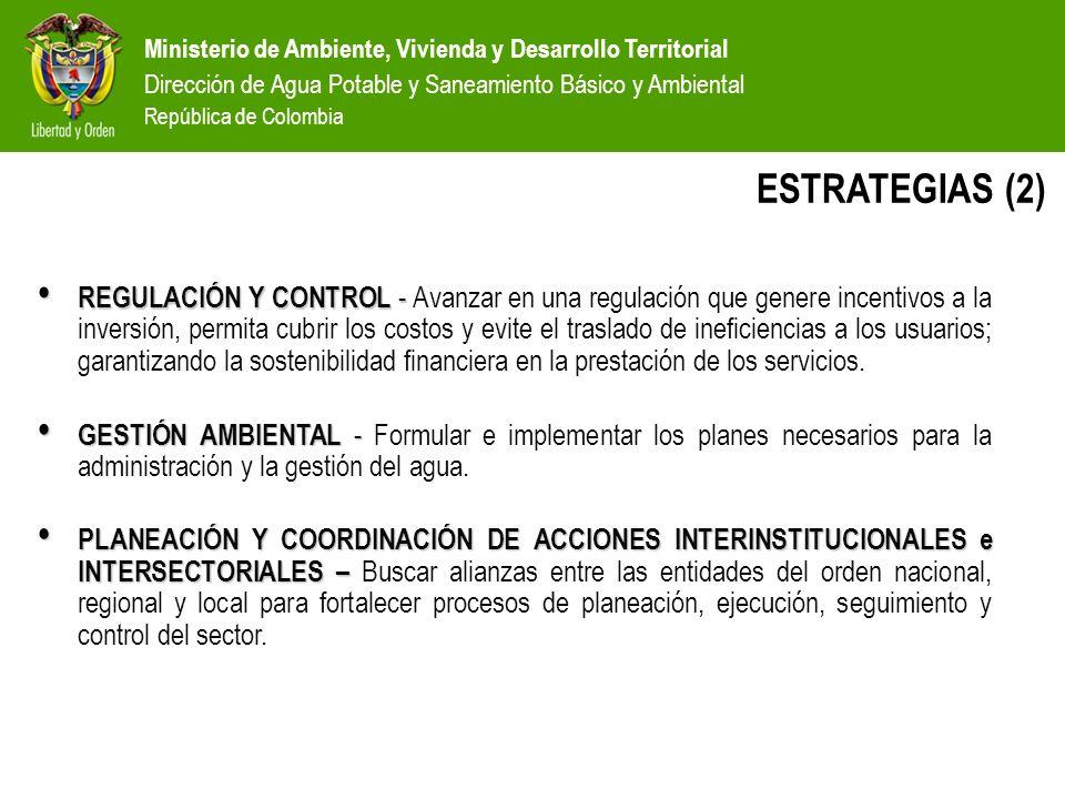 Ministerio de Ambiente, Vivienda y Desarrollo Territorial Dirección de Agua Potable y Saneamiento Básico y Ambiental República de Colombia COMPETENCIAS EN LOS SERVICIOS GOBIERNO NACIONAL MUNICIPIOS : MUNICIPIOS : Asegurar la prestación del servicio y otorgar subsidios a los estratos más pobres EMPRESAS Prestar los servicios con indicadores de eficiencia y calidad CalidadCoberturaContinuidad USUARIOS Contar con servicios de calidad, acorde con su capacidad de pago GOBERNACIONES y CAR´S Funciones de apoyo y coordinación MAVDT = Política y asistencia técnica SSPD = Control y vigilancia CRA = Regulación Nivel Nacional Nivel Intermedio Nivel Local