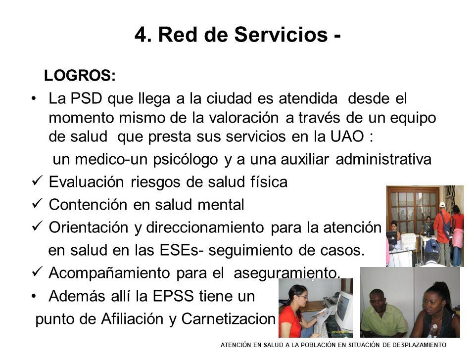 4. Red de Servicios - LOGROS: La PSD que llega a la ciudad es atendida desde el momento mismo de la valoración a través de un equipo de salud que pres