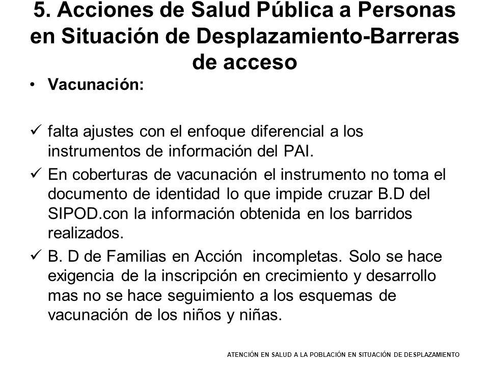 ATENCIÓN EN SALUD A LA POBLACIÓN EN SITUACIÓN DE DESPLAZAMIENTO 5. Acciones de Salud Pública a Personas en Situación de Desplazamiento-Barreras de acc