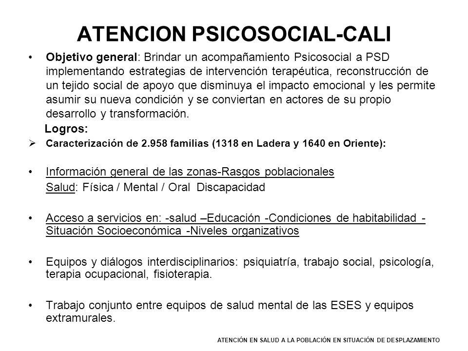 ATENCION PSICOSOCIAL-CALI Objetivo general: Brindar un acompañamiento Psicosocial a PSD implementando estrategias de intervención terapéutica, reconst