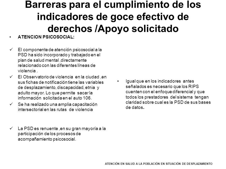 Barreras para el cumplimiento de los indicadores de goce efectivo de derechos /Apoyo solicitado ATENCION PSICOSOCIAL: El componente de atención psicos