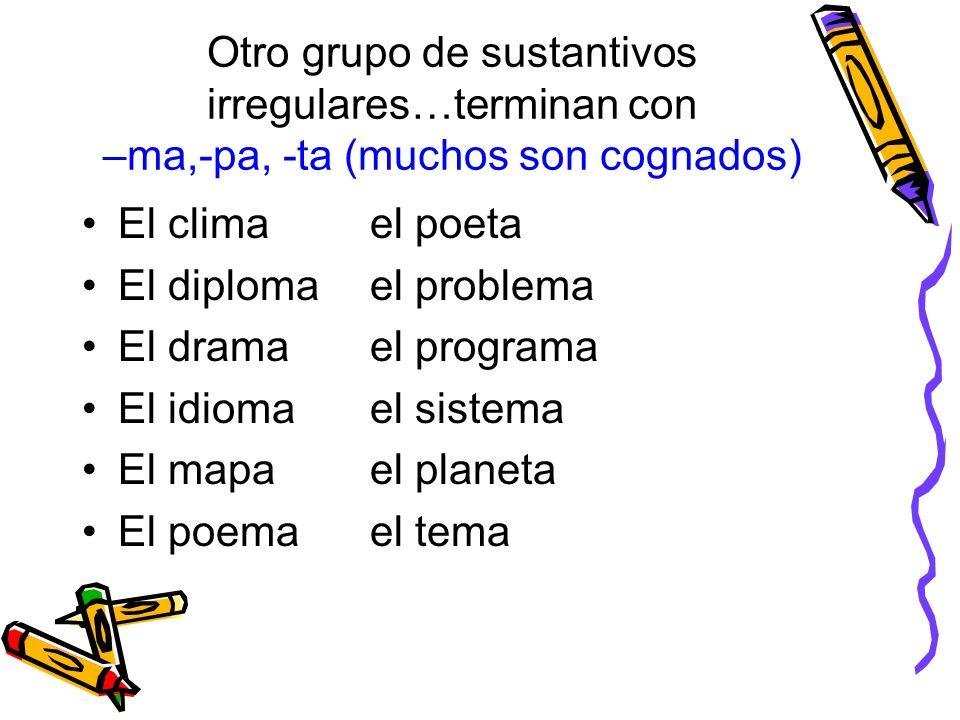 Otro grupo de sustantivos irregulares…terminan con –ma,-pa, -ta (muchos son cognados) El climael poeta El diplomael problema El dramael programa El id
