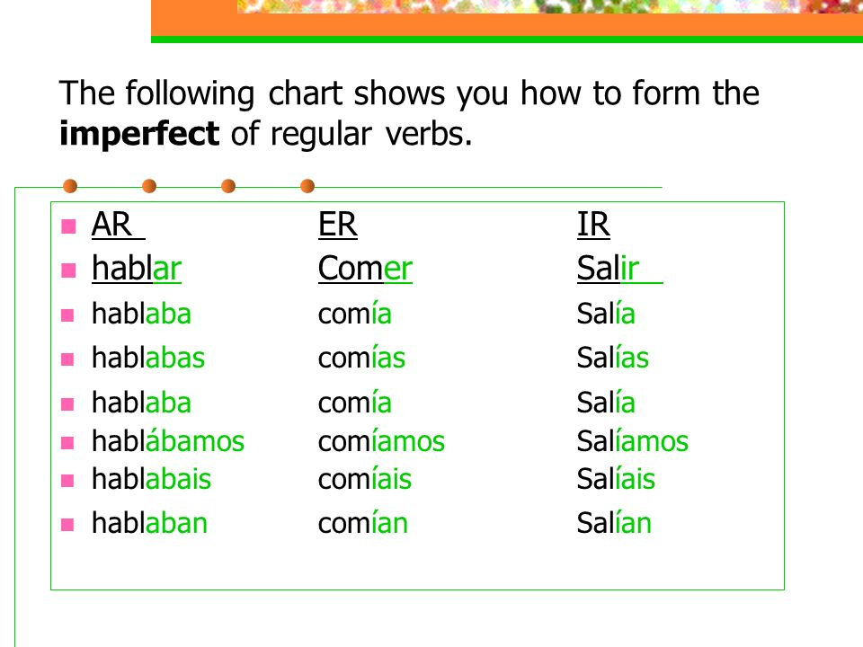 The following chart shows you how to form the imperfect of regular verbs.