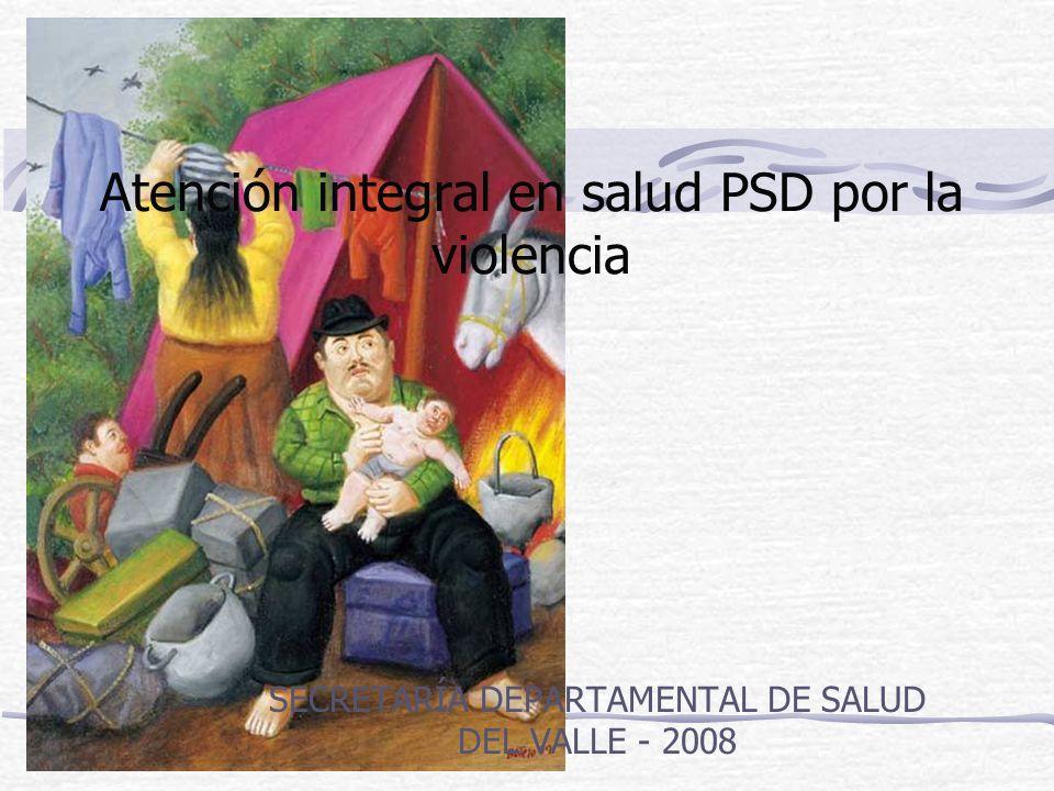Atención integral en salud PSD por la violencia SECRETARÍA DEPARTAMENTAL DE SALUD DEL VALLE - 2008