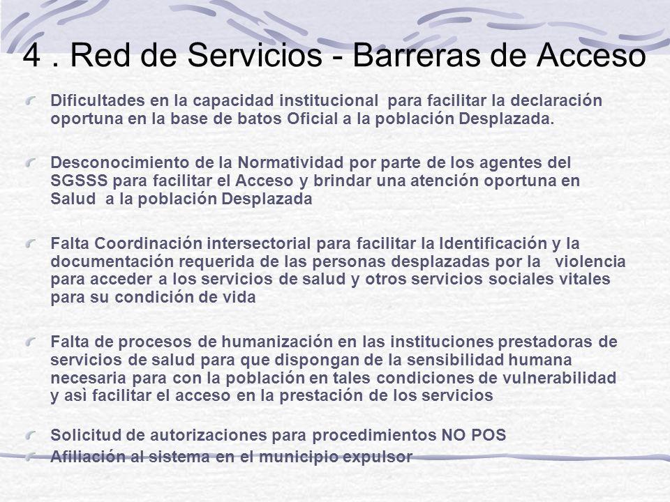 4. Red de Servicios - Barreras de Acceso Dificultades en la capacidad institucional para facilitar la declaración oportuna en la base de batos Oficial