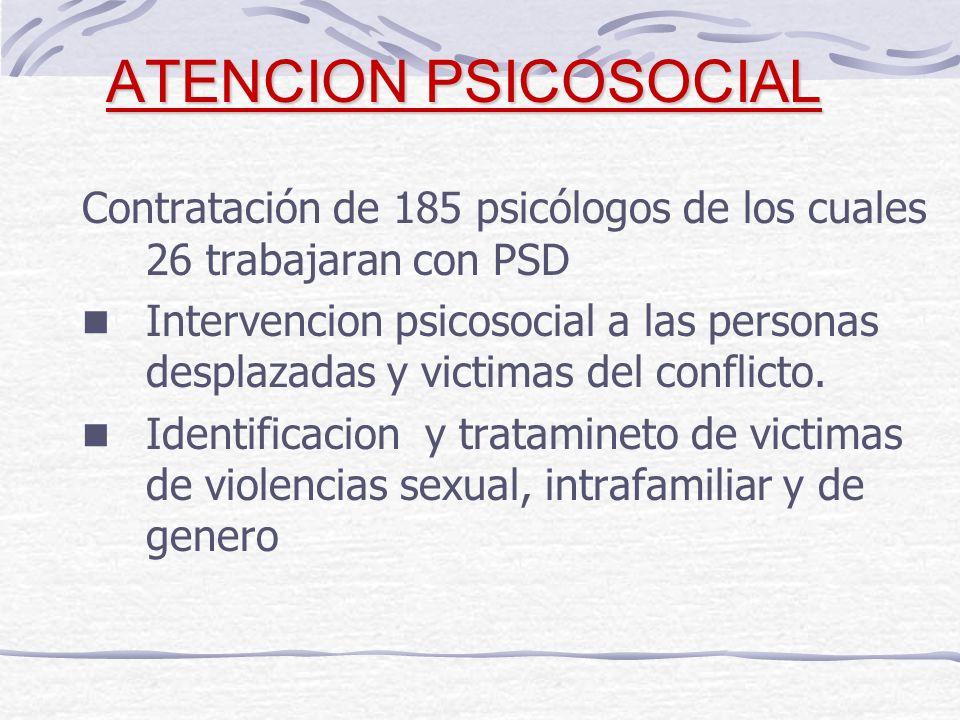 ATENCION PSICOSOCIAL Contratación de 185 psicólogos de los cuales 26 trabajaran con PSD Intervencion psicosocial a las personas desplazadas y victimas del conflicto.