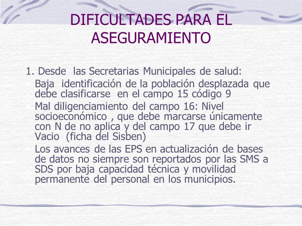 DIFICULTADES PARA EL ASEGURAMIENTO 1. Desde las Secretarias Municipales de salud: Baja identificación de la población desplazada que debe clasificarse