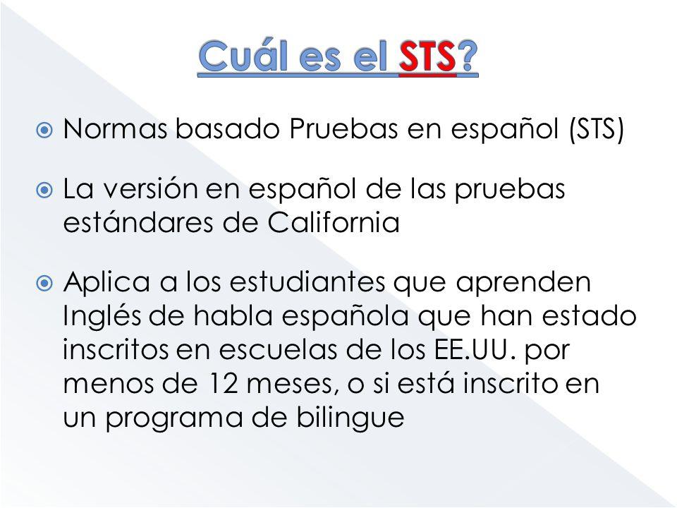 Normas basado Pruebas en español (STS) La versión en español de las pruebas estándares de California Aplica a los estudiantes que aprenden Inglés de h