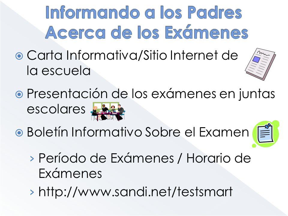 Carta Informativa/Sitio Internet de la escuela Presentación de los exámenes en juntas escolares Boletín Informativo Sobre el Examen Período de Exámene