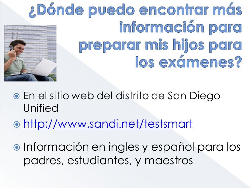 En el sitio web del distrito de San Diego Unified http://www.sandi.net/testsmart Información en ingles y español para los padres, estudiantes, y maest