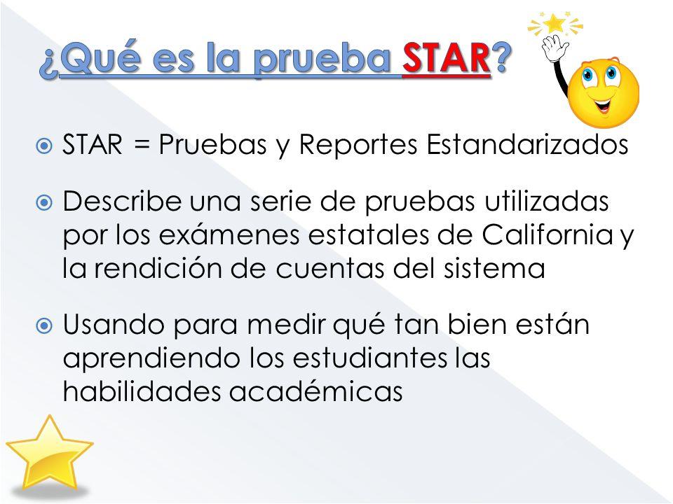 STAR = Pruebas y Reportes Estandarizados Describe una serie de pruebas utilizadas por los exámenes estatales de California y la rendición de cuentas d