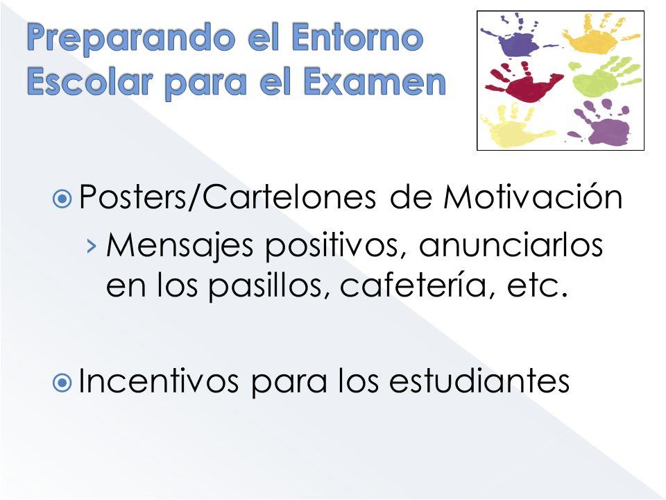 Posters/Cartelones de Motivación Mensajes positivos, anunciarlos en los pasillos, cafetería, etc. Incentivos para los estudiantes