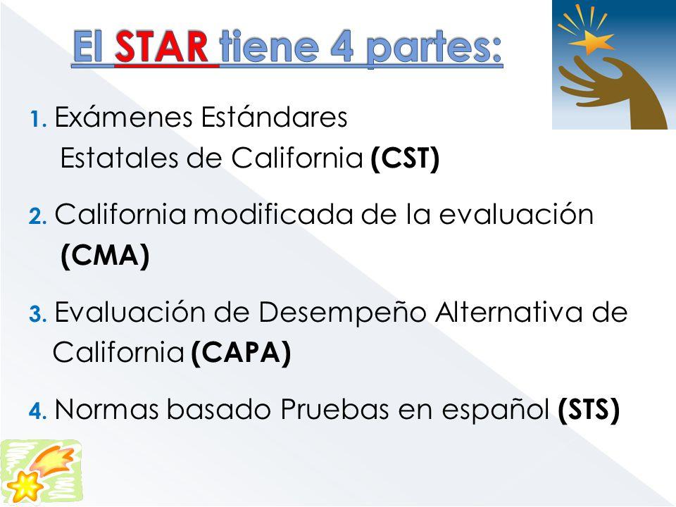 1. Exámenes Estándares Estatales de California (CST) 2. California modificada de la evaluación (CMA) 3. Evaluación de Desempeño Alternativa de Califor