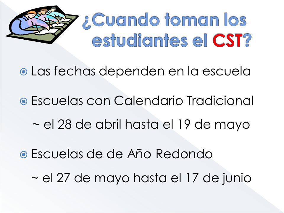 Las fechas dependen en la escuela Escuelas con Calendario Tradicional ~ el 28 de abril hasta el 19 de mayo Escuelas de de Año Redondo ~ el 27 de mayo
