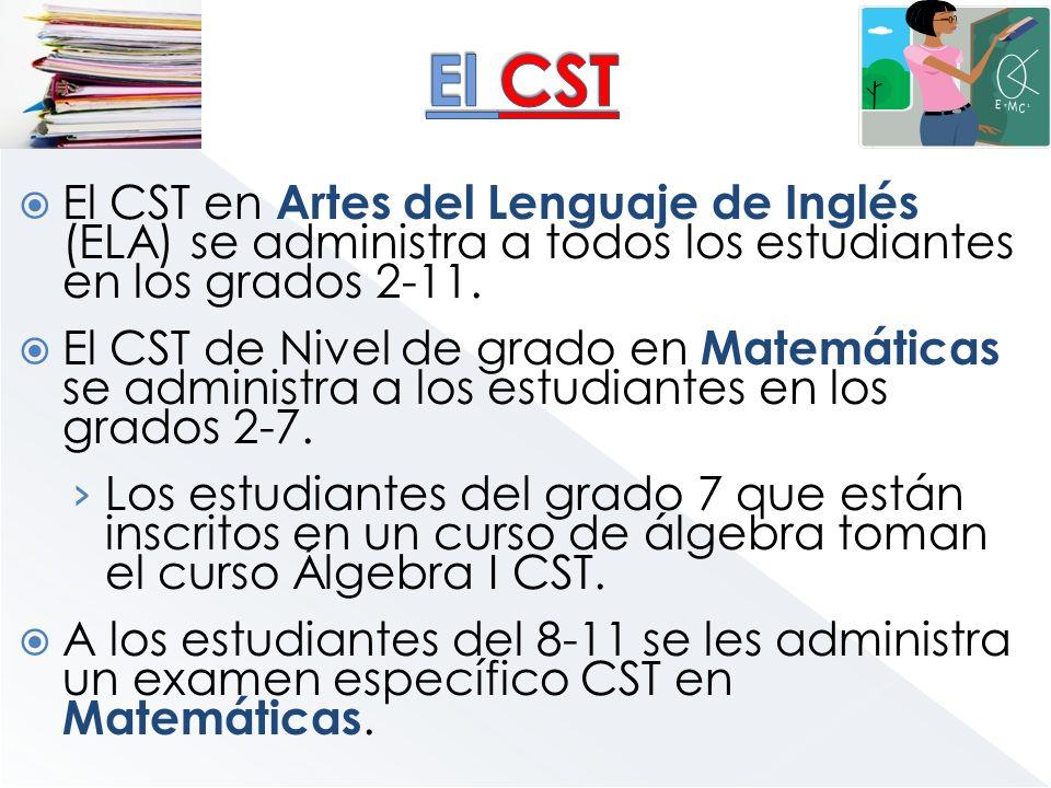 El CST en Artes del Lenguaje de Inglés (ELA) se administra a todos los estudiantes en los grados 2-11. El CST de Nivel de grado en Matemáticas se admi