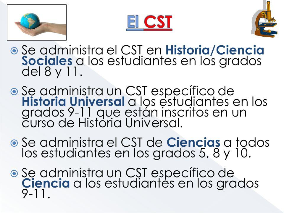 Se administra el CST en Historia/Ciencia Sociales a los estudiantes en los grados del 8 y 11. Se administra un CST específico de Historia Universal a