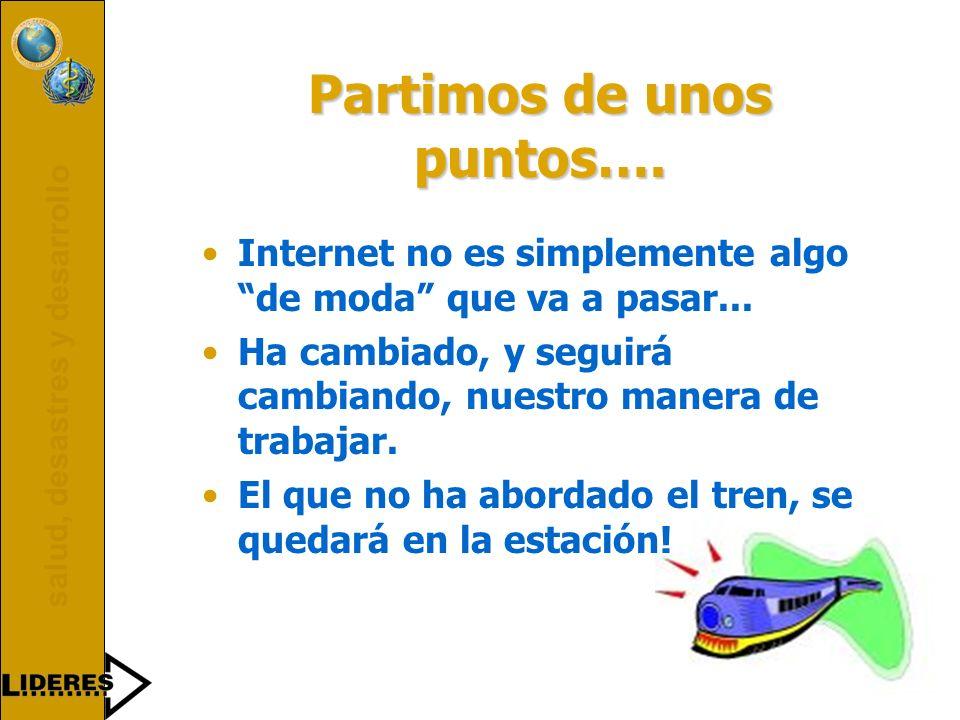 salud, desastres y desarrollo 1995199719981999 Comienzo de proyectos Internet patrocinados por ¿Cómo ha cambiado el panorama?