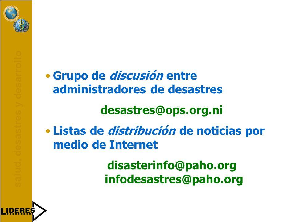 salud, desastres y desarrollo 199519961997199819992000 Reunión sobre Internet, Bogotá, Colombia