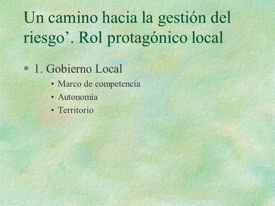 Un camino hacia la gestión del riesgo. Rol protagónico local §1.