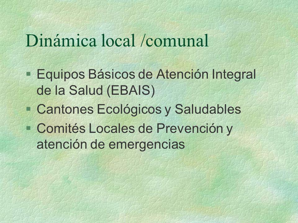 Relación entre municipalidad- sector salud Local § Apoyo operativo en acciones de atención y rehabilitación posterior a la manifestación de una emergencia §Campañas de educación