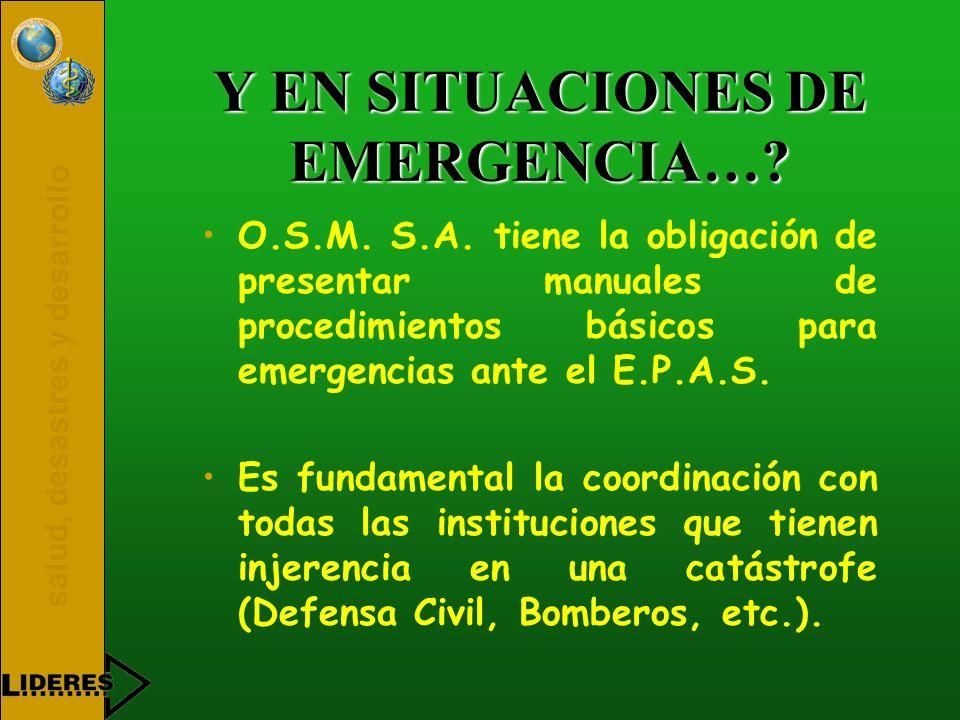 salud, desastres y desarrollo Y EN SITUACIONES DE EMERGENCIA…? O.S.M. S.A. tiene la obligación de presentar manuales de procedimientos básicos para em