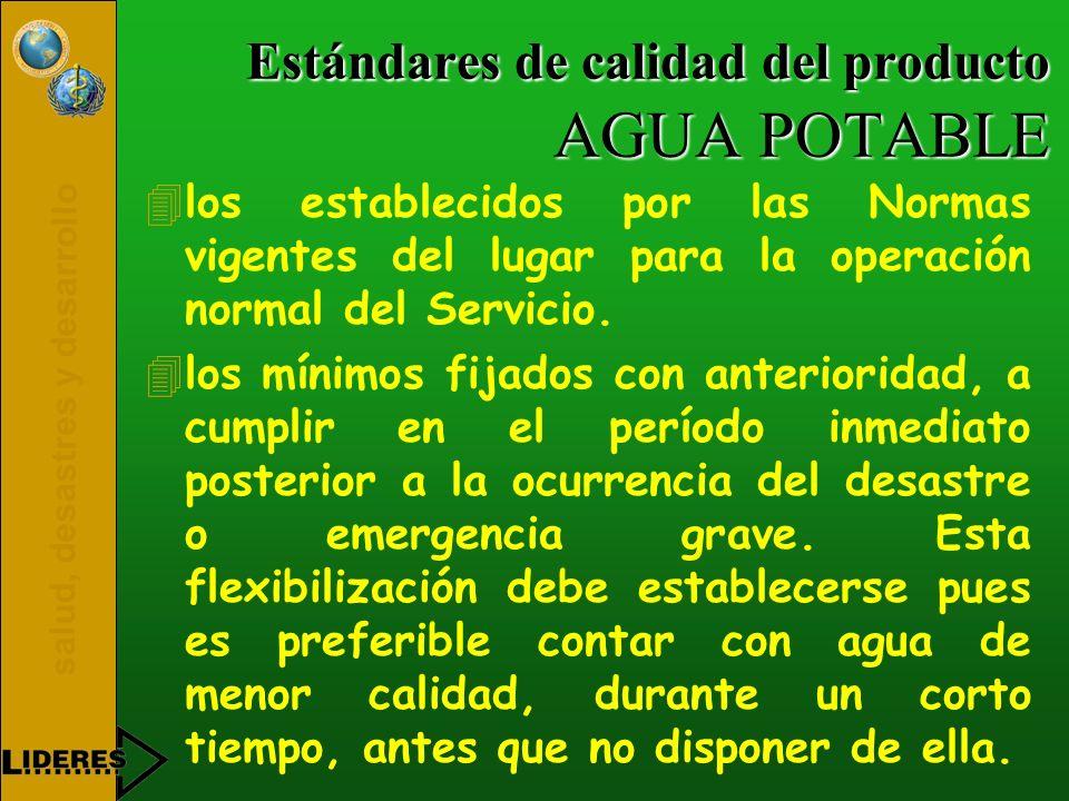 salud, desastres y desarrollo Estándares de calidad del producto AGUA POTABLE 4los establecidos por las Normas vigentes del lugar para la operación no