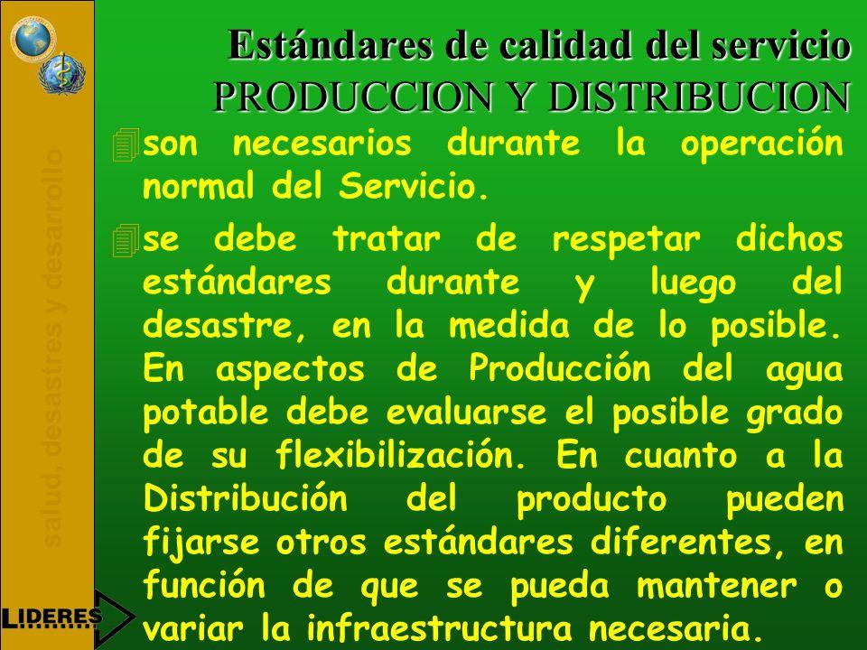 salud, desastres y desarrollo Estándares de calidad del servicio PRODUCCION Y DISTRIBUCION 4son necesarios durante la operación normal del Servicio. 4