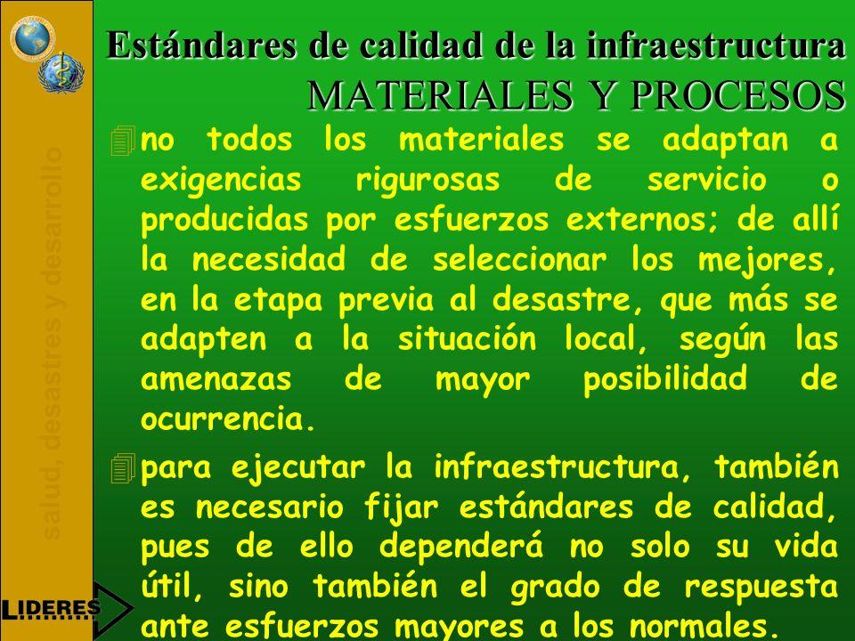 salud, desastres y desarrollo Estándares de calidad de la infraestructura MATERIALES Y PROCESOS 4no todos los materiales se adaptan a exigencias rigur