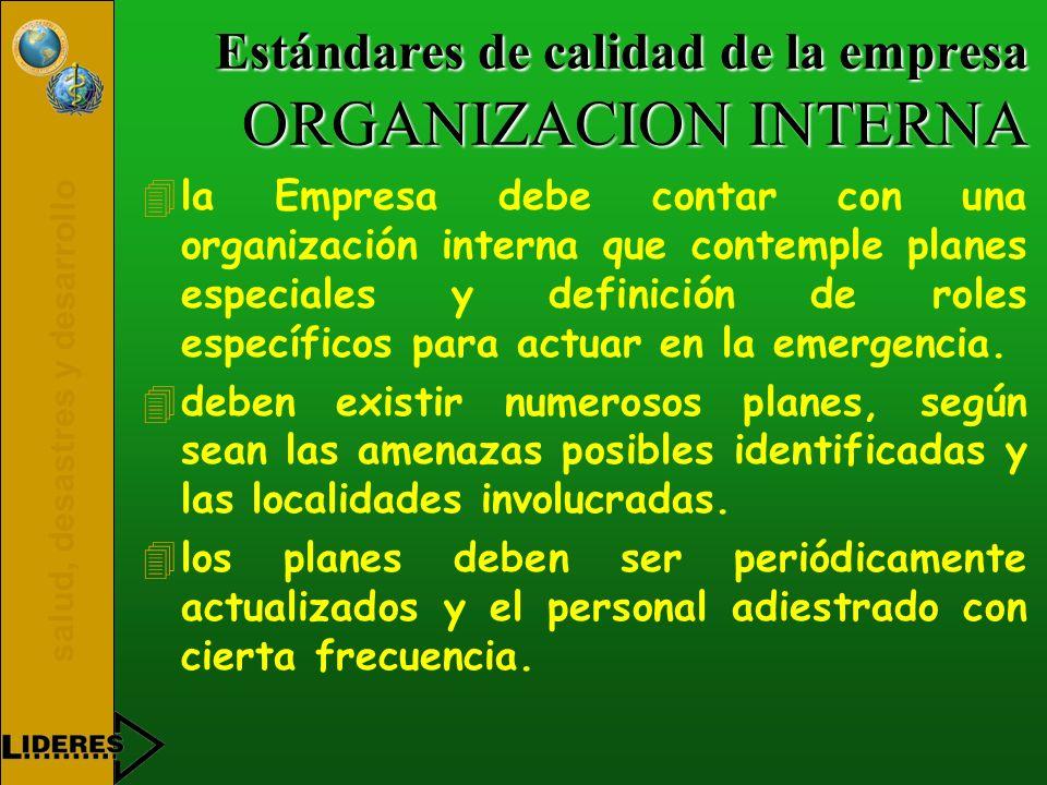 salud, desastres y desarrollo Estándares de calidad de la empresa ORGANIZACION INTERNA 4la Empresa debe contar con una organización interna que contem