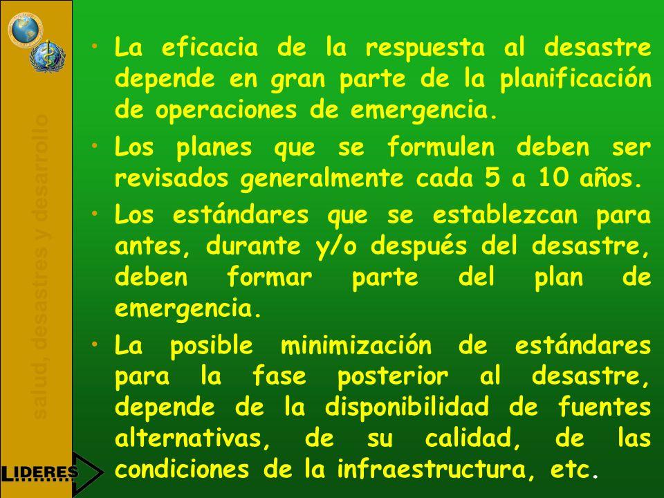 salud, desastres y desarrollo La eficacia de la respuesta al desastre depende en gran parte de la planificación de operaciones de emergencia. Los plan