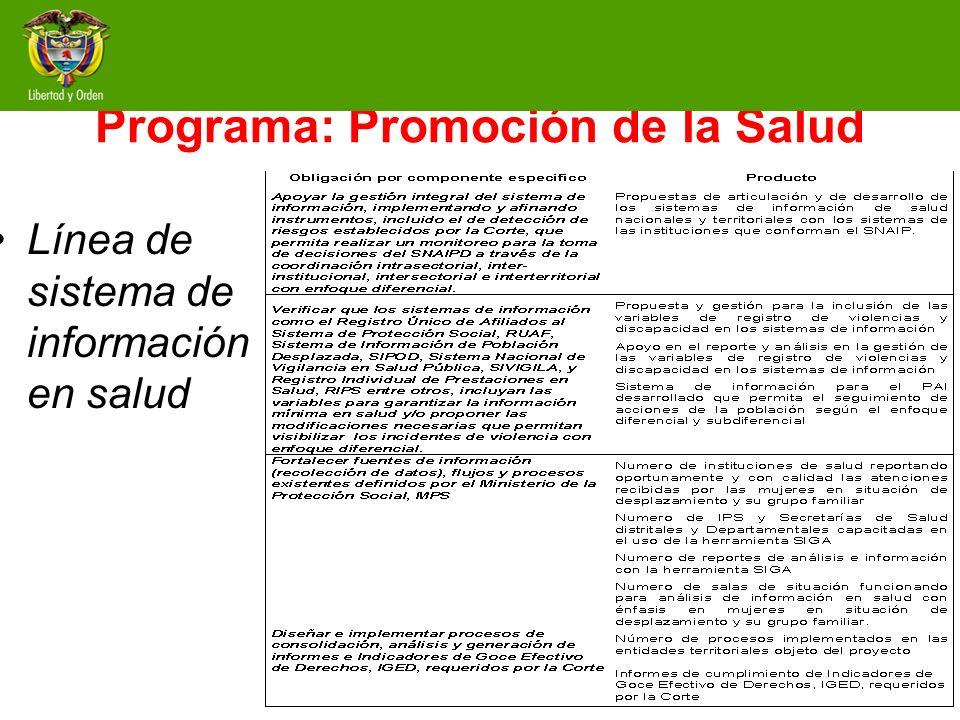 Programa: Promoción de la Salud Línea de sistema de información en salud