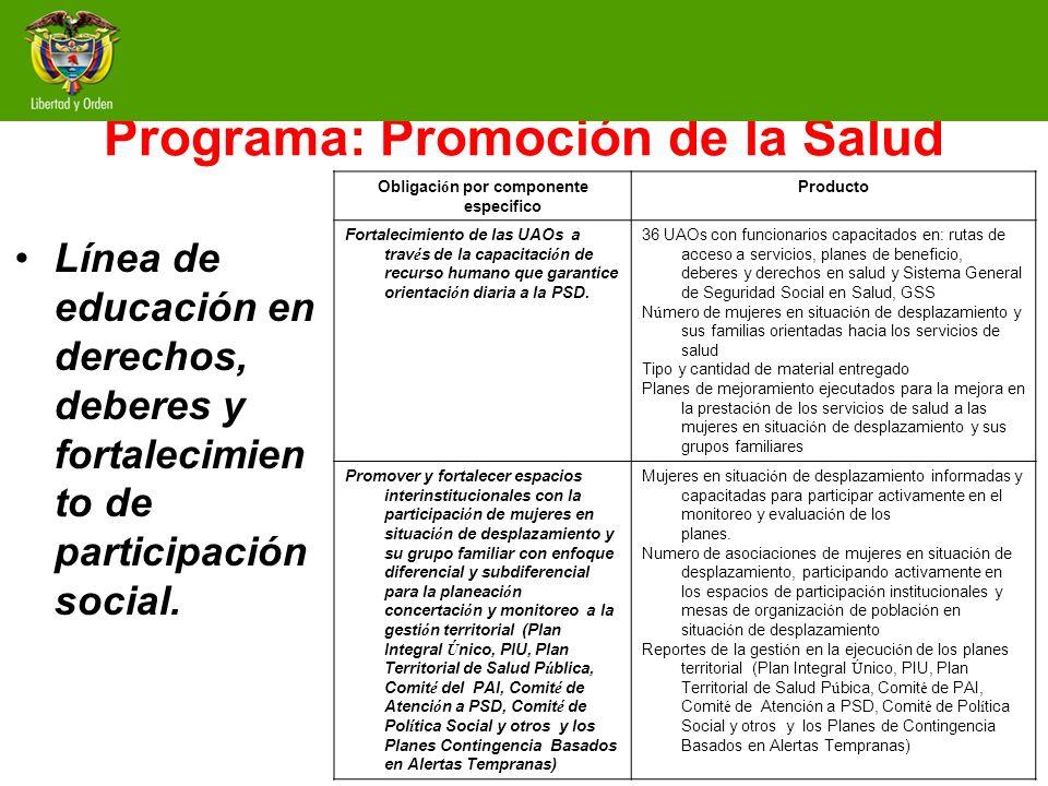 Programa: Promoción de la Salud Línea de educación en derechos, deberes y fortalecimien to de participación social. Obligaci ó n por componente especi