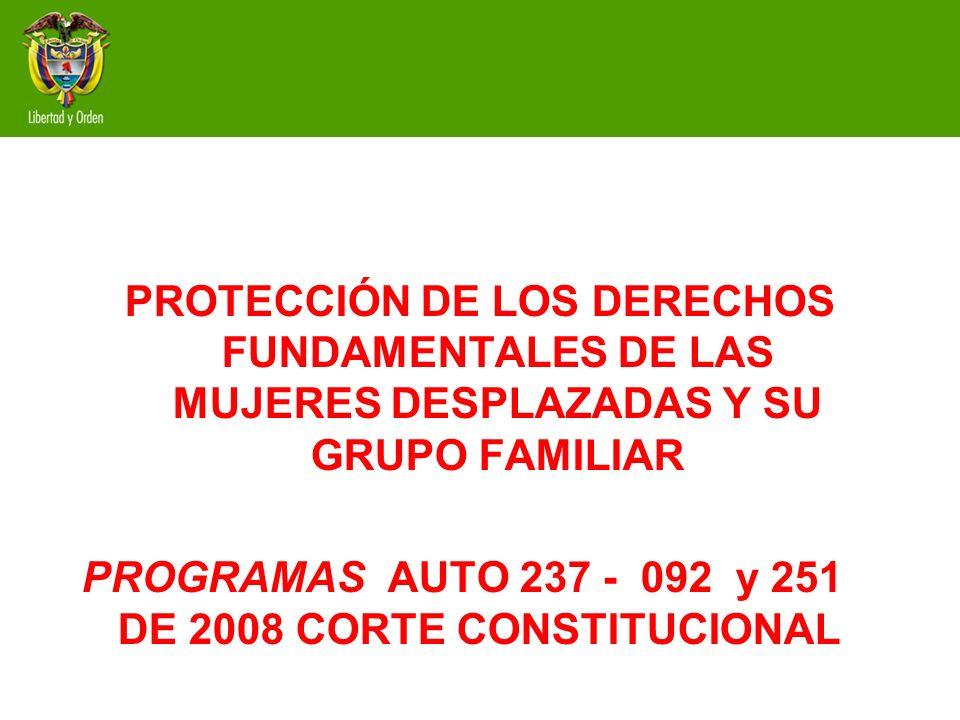 OBJETO DE LOS PROGRAMAS Desarrollar programas orientados a promover y garantizar el acceso de las mujeres en situación de desplazamiento y su grupo familiar, a los programas estructurados por el Ministerio de la Protección Social, en cumplimiento de las ordenes impartidas por la Corte Constitucional y en particular, a las contenidas en los Autos 092, 237 y 251 de 2008, emitidos en el marco de la Sentencia T- 025 de 2004.