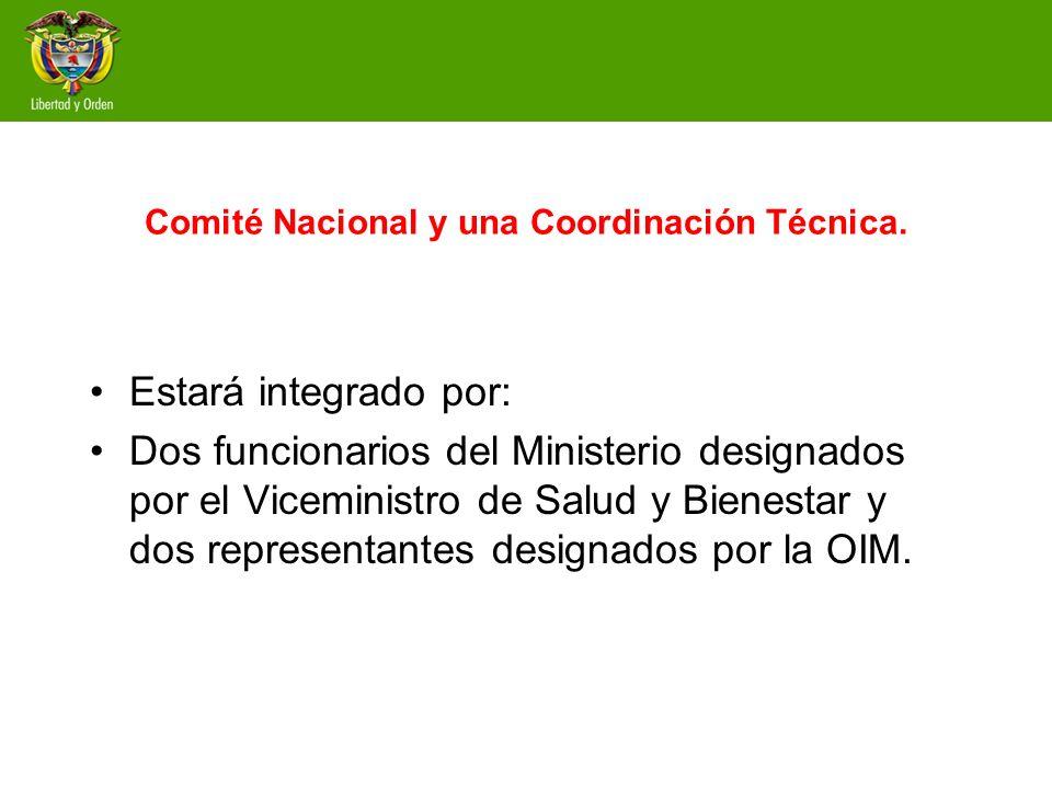 Comité Nacional y una Coordinación Técnica. Estará integrado por: Dos funcionarios del Ministerio designados por el Viceministro de Salud y Bienestar