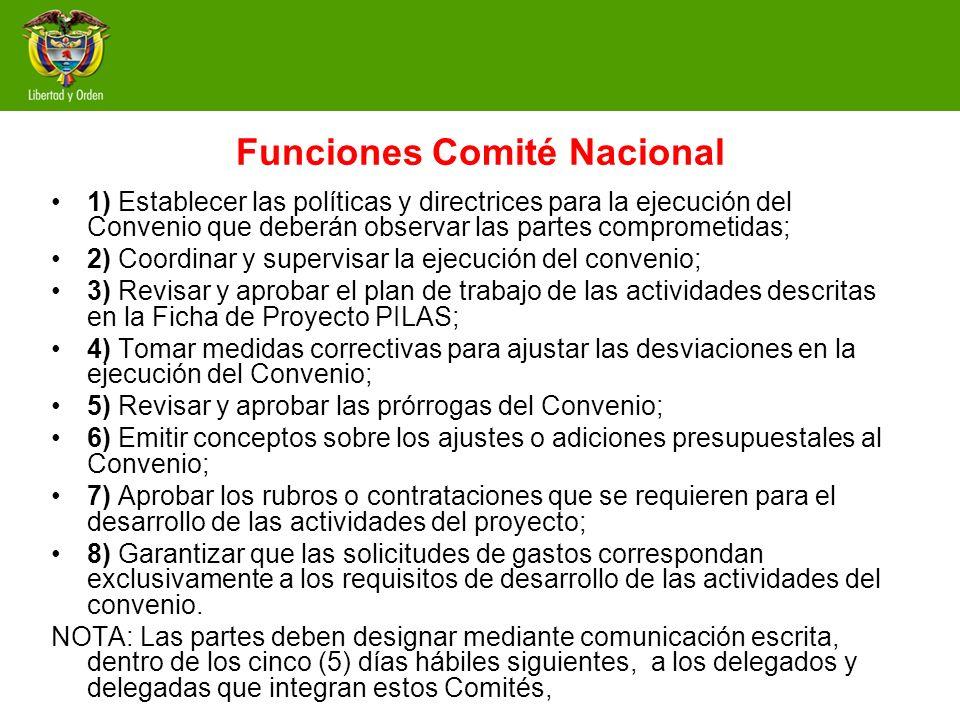 Funciones Comité Nacional 1) Establecer las políticas y directrices para la ejecución del Convenio que deberán observar las partes comprometidas; 2) C