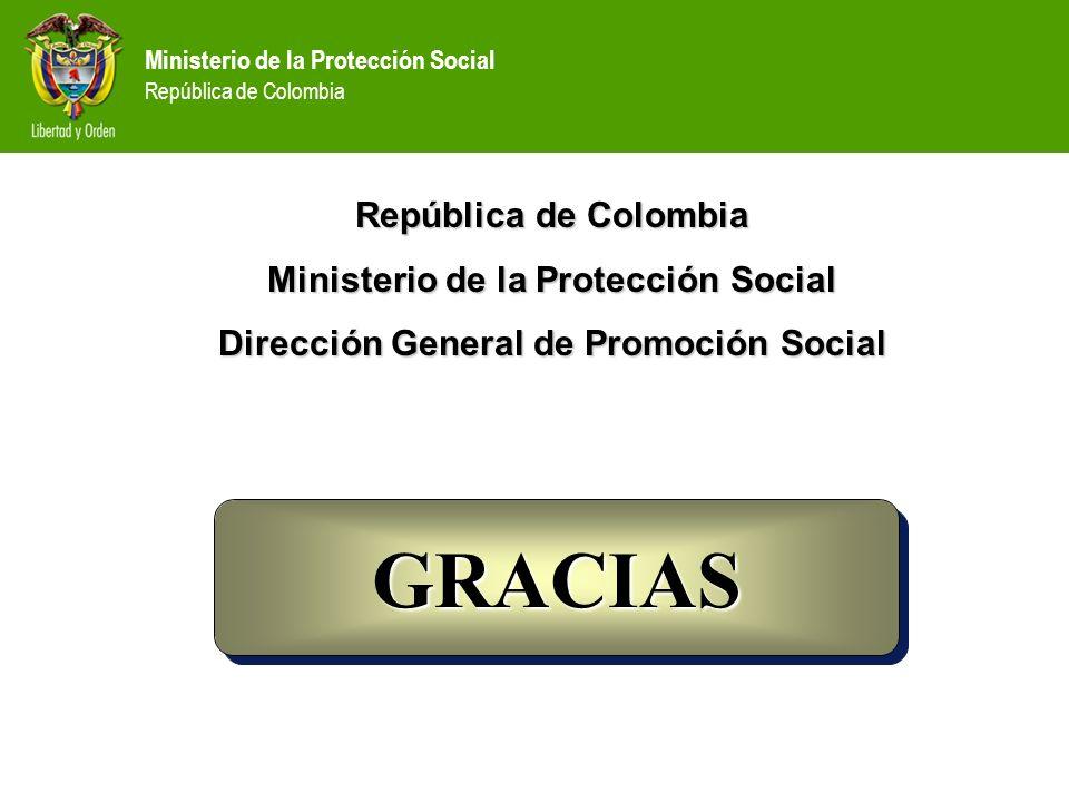 Ministerio de la Protección Social República de Colombia República de Colombia Ministerio de la Protección Social Dirección General de Promoción Socia