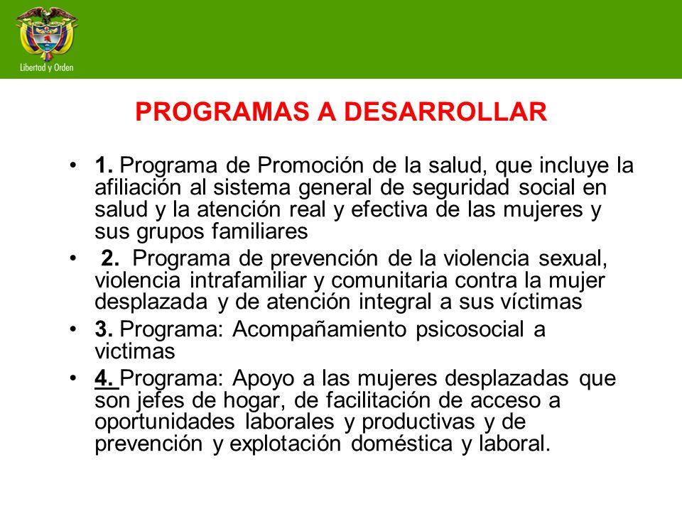 PROGRAMAS A DESARROLLAR 1. Programa de Promoción de la salud, que incluye la afiliación al sistema general de seguridad social en salud y la atención